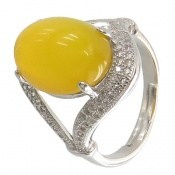 انگشتر عقیق زرد طرح ماهرخ زنانه