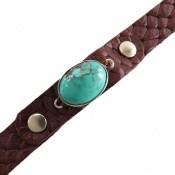 دستبند چرم و نقره و فیروزه نیشابوری خوش رنگ