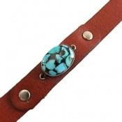 دستبند چرم و نقره و فیروزه ترکیبی نیشابوری
