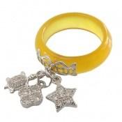 انگشتر نقره و عقیق آویز ستاره و لاک پشت زنانه