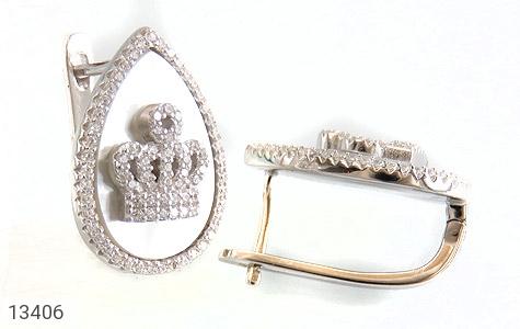 گوشواره صدف اشکی طرح تاج سلطنتی زنانه - عکس 1