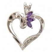 مدال آمتیست و الماس طرح قلب زنانه