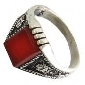 انگشتر عقیق قرمز کلاسیک و سیاه قلم
