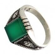 انگشتر عقیق سبز کلاسیک و سیاه قلم
