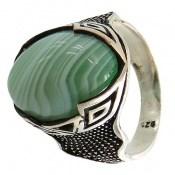 انگشتر عقیق سبز درشت ابروبادی مردانه