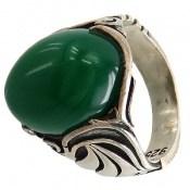 انگشتر عقیق سبز درشت طرح شهنام مردانه