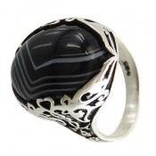 انگشتر عقیق سیاه خوش نقش و درشت مردانه