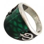 انگشتر عقیق سبز طرح اسپرت