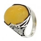 انگشتر عقیق زرد درشت طرح پژمان مردانه