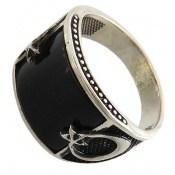 انگشتر عقیق سیاه طرح ماه و ستاره