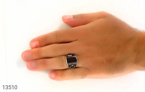 انگشتر عقیق قهوهای طرح ماه وستاره - تصویر 8