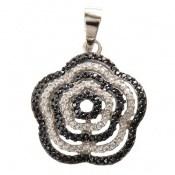 مدال نقره طرح گل دورنگ زنانه