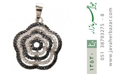 مدال نقره طرح گل دورنگ زنانه - کد 13520
