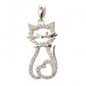 مدال نقره طرح گربه جذاب زنانه