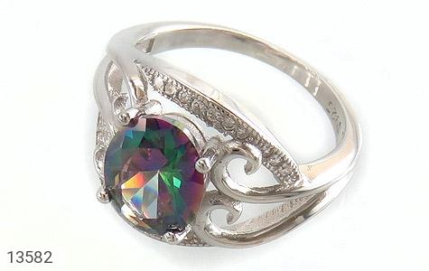 انگشتر توپاز هفت رنگ طرح نازنین زنانه - عکس 1