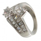 انگشتر نقره سولیتر الماس نشان زنانه