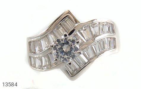 انگشتر نقره سولیتر الماس نشان زنانه - تصویر 2