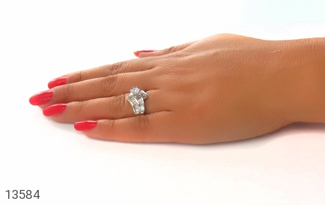 انگشتر نقره سولیتر الماس نشان زنانه - عکس 7