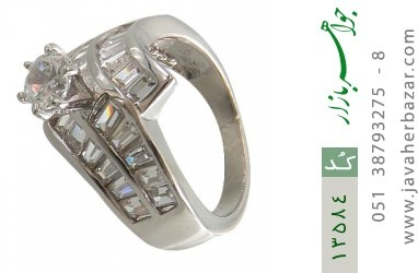 انگشتر نقره سولیتر الماس نشان زنانه - کد 13584