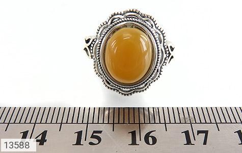 انگشتر عقیق زرد فری سایز طرح ستایش زنانه - تصویر 6