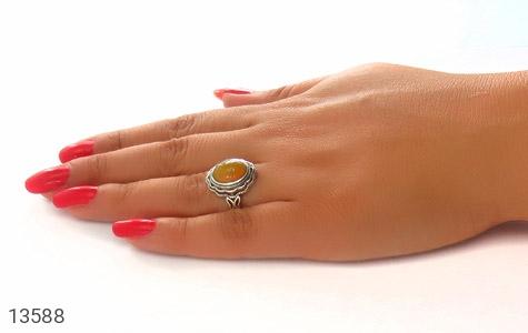 انگشتر عقیق زرد فری سایز طرح ستایش زنانه - عکس 7