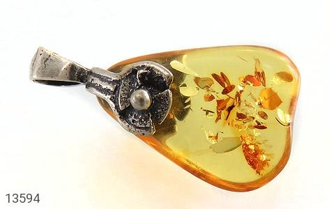 مدال کهربا بولونی لهستان عسلی رنگ زنانه - عکس 3