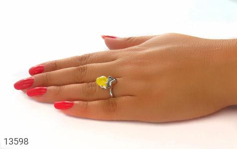 انگشتر مارکازیت و عقیق زرد طرح قلب زنانه - عکس 7