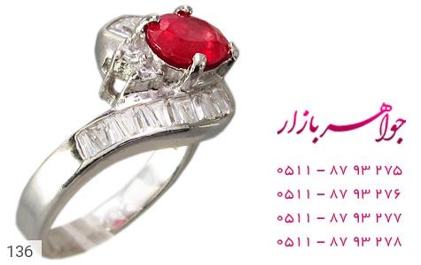 انگشتر یاقوت سرخ طرح پیچ زنانه - عکس 1