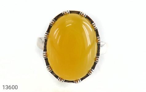 انگشتر عقیق زرد درشت طرح پارمیس زنانه - تصویر 2