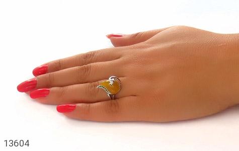 انگشتر مارکازیت و عقیق زرد طرح یسنا زنانه - عکس 7