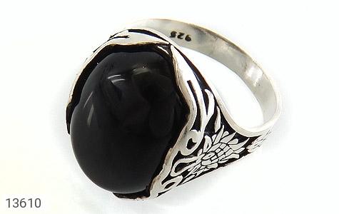 انگشتر عقیق سیاه درشت طرح پوریا مردانه - عکس 1