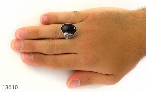 انگشتر عقیق سیاه درشت طرح پوریا مردانه - عکس 7