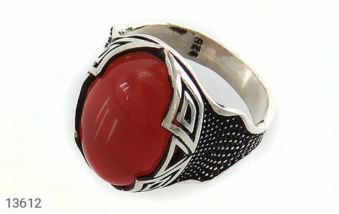 انگشتر عقیق سرخ درشت طرح یزدان مردانه - عکس 1