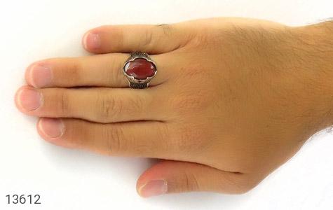 انگشتر عقیق سرخ درشت طرح یزدان مردانه - عکس 7