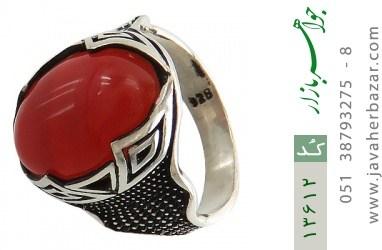 انگشتر عقیق سرخ درشت طرح یزدان مردانه - کد 13612