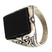 انگشتر عقیق سیاه چهارگوش و درشت مردانه