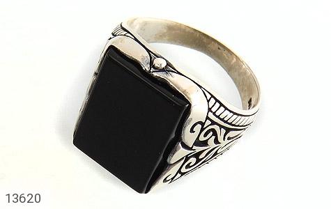 انگشتر عقیق سیاه چهارگوش و درشت مردانه - عکس 1