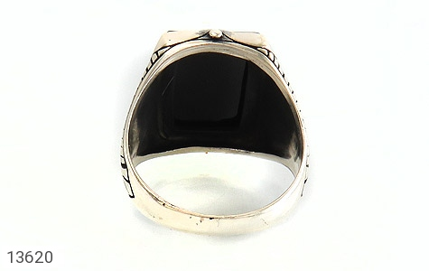 انگشتر عقیق سیاه چهارگوش و درشت مردانه - تصویر 4