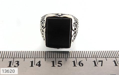 انگشتر عقیق سیاه چهارگوش و درشت مردانه - تصویر 6