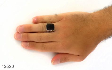 انگشتر عقیق سیاه چهارگوش و درشت مردانه - عکس 7