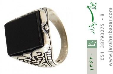 انگشتر عقیق سیاه چهارگوش و درشت مردانه - کد 13620
