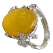 انگشتر عقیق زرد درشت طرح پرنسس زنانه