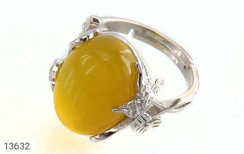 انگشتر عقیق زرد درشت طرح پرنسس زنانه - عکس 1