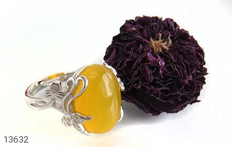 انگشتر عقیق زرد درشت طرح پرنسس زنانه - عکس 5