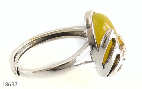 انگشتر عقیق زرد خوش رنگ طرح نازی زنانه - عکس 3