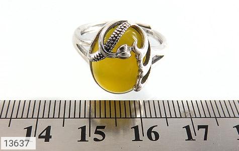 انگشتر عقیق زرد خوش رنگ طرح نازی زنانه - تصویر 6