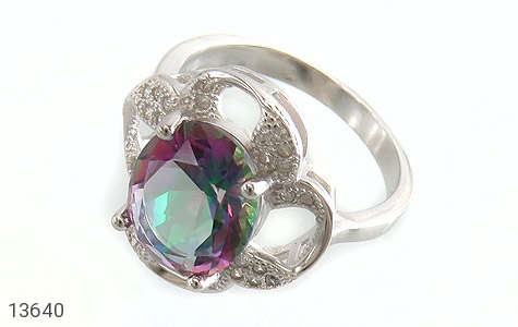 انگشتر توپاز هفت رنگ طرح گونش زنانه - عکس 1