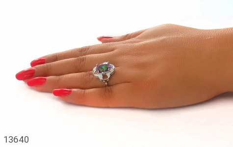 انگشتر توپاز هفت رنگ طرح گونش زنانه - عکس 7