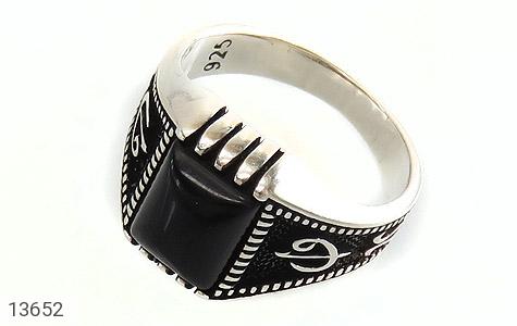 انگشتر عقیق سیاه طرح هنری مردانه - عکس 1
