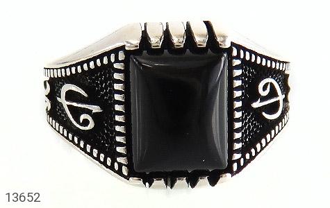 انگشتر عقیق سیاه طرح هنری مردانه - تصویر 2